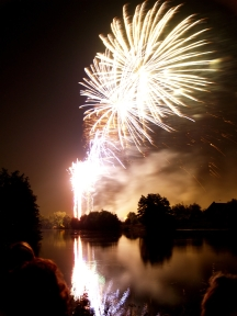 Fireworks and Reflection on Water