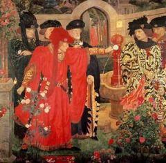 Choosing_the_Red_and_White_Roses - Henry Arthur Payne (1868–1940)
