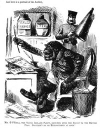 Irishman as Monkey:  John Tenniel's satirical cartoon published in Punch sometime between 1845 - 1852